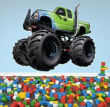 Grüner Monster Truck Wandaufkleber Transport Wandtattoo Jungen Schlafzimmer Wohnkultur Erhältlich in 8 Größen Groß Digital