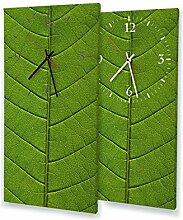 Grünes Blatt - Lautlose Wanduhr mit Fotodruck auf Leinwand Keilrahmen | geräuschlos kein Ticken Fotouhr Bilderuhr Motivuhr Küchenuhr modern hochwertig Quarz | Variante:30 cm x 60 cm mit schwarzen Zeigern - GERÄUSCHLOS
