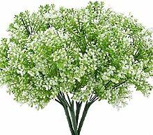 Grünpflanze Künstlich, MIHOUNION 4 Stücke Kunstpflanzen Deko Simulation Grüne Pflanze Bouquet Arrangement Haus Garten Dekorationen weiß und grün
