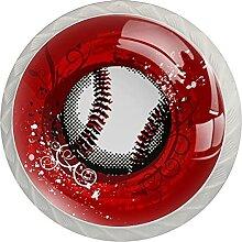 Grunge Baseball Rot Küchenknopf Klarglasschrank