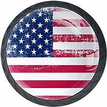 Grunge USA Flagge 4 Stück Schubladenknöpfe
