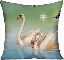 GRUNVGT Cushion Cover Pillow Cover Beautiful Swan