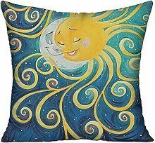 GRUNVGT Cushion Cover Pillow Cover Sun and Moon