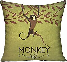 GRUNVGT Cushion Cover Pillow Cover Vintage Monkey