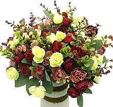 Grunyia Künstliche Kunstblumen Seide Kleine Rosen
