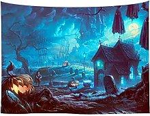 Grusel Halloween Geist Kürbis Wandteppich