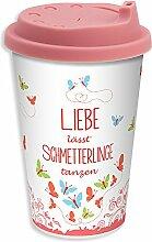"""GRUSS & CO 44482 Becher to-go """"Liebe lässt Schmetterlinge tanzen!"""", Porzellan mit Silikon-Deckel, 43 cl"""