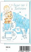 Grußkarte Taufe Kind mit Teddybär