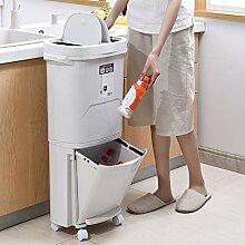 GRX-ZNLJT Mülleimer küche,Doppelschichtiger