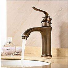 GS~LY Badezimmer Waschbecken Wasserhahn/Messing antik/Verbreitet/Traditionelle/Wasserfall/Retro/Waschbecken Wasserhahn, L