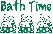 gsbathroom _ 86Bath Time Design mit Frösche. Kleine Größe 60cm x 39cm Farbe Wählen 18Farben auf Lager. Windows und Wandtattoo, Wand Windows Art, Kinder Zimmer Sticker, Aufkleber, ThatVinylPlace Grün