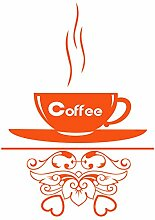 gskitchen _ 35 Kaffee Tasse Design Kleine Größe 33 cm x 46 cm Farbe Wählen 18 Farben auf Lager. Windows und Wandtattoo, Wand Windows Art, Kinder Zimmer Sticker, Aufkleber, ThatVinylPlace Orange