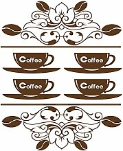 gskitchen _ 36 Vintage Coffee Tassen, Design Größe 48 cm x 60 cm Farbe wählen 18 Farben auf Lager. Windows und Wandtattoo, Wand Windows Art, Kinder Zimmer Sticker, Aufkleber, ThatVinylPlace braun