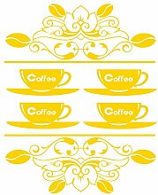 gskitchen _ 36 Vintage Coffee Tassen, Design Größe 48 cm x 60 cm Farbe wählen 18 Farben auf Lager. Windows und Wandtattoo, Wand Windows Art, Kinder Zimmer Sticker, Aufkleber, ThatVinylPlace Gelb