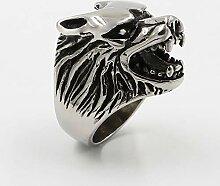 GSKTY Titanium Stahl Wolf Kopf Männer Ring