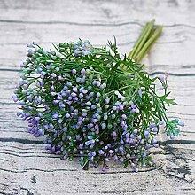 GSYLOL 1 Bouquet 10 Zweige Künstliche Blumen Bohnen Früchte Gras Simulation Pflanze Bouquet Hochzeit Dekoration, blau