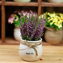 GSYLOL 1 Satz Topf Lavendel Pflanze Künstliche Blumen Bonsai Keramik Blumentopf Hochzeit Dekorative Floristik, lila