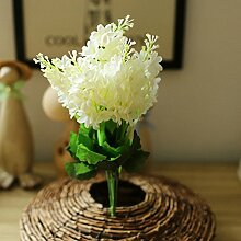 GSYLOL 1 Stück Kunststoff 5 Heads Künstliche Lavendel Blumen Hyazinthe Pflanze Seidenblume Hochzeit Anordnung Dekoration, weiß