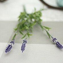 GSYLOL 10 Stücke 3 Heads Künstliche Lavendel Pflanze Seidenblume Hochzeit Blumenschmuck Dekoration, blau