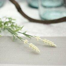 GSYLOL 5Pc Künstliche Lavendel 3 Köpfe Pflanze Seidenblume Hochzeit Blumenschmuck Dekoration 3 Farben, Weiß