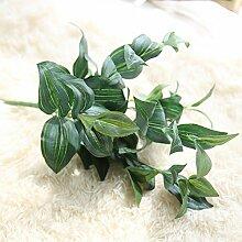 GSYLOL 6 Köpfe Künstliche Augenbraue Form Grüne Pflanze Gras Simulation Blätter Silk Pflanzen Blumengeschäft Grüne Wanddekoration, blau