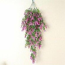 GSYLOL Wandbehang künstliche Pflanze Blätter Lavendel Korb Blumen Home Balkon Hochzeit Dekor, ro
