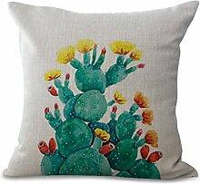 GT Kissenbezug, Pflanze, KaktusLeinen Baumwoll Kissenbezüge Bedrucken Platz Dekorative Kissenhülle in Verschiedene Muster Sofa Kissenbezug, 45*45CM