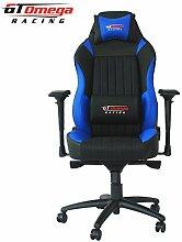 GT Omega EVO XL Racing Bürostuhl / Gaming-Sessel aus Leder, Schwarz/Blau