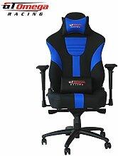 GT Omega Master XL Racing Bürostuhl/Gaming-Sessel, aus Leder, Schwarz/Blau