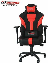 GT Omega Master XL Racing Bürostuhl / Gaming-Sessel aus Leder, Schwarz / Ro