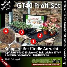 GT40 Anzucht-Set PROFI - 40 Jiffy-7 Torf-Quelltöpfe + 40er Topfplatte + Wanne mit Kapillarmatte, Anzucht-Set für Saatgut und Stecklinge mit autom. Bewässerung