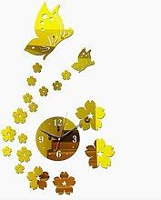 GUAGUA DIY Acrylspiegel Aufkleber 3D Deko Schmetterling Wanduhr , golden