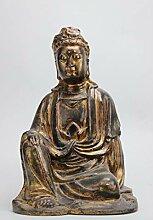 Guan Yin Buddha Figur Holz Schnitzerei (35cm)
