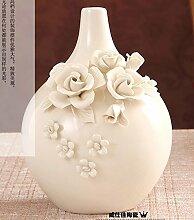 GUANGMING77 Heimtextilien Keramik Vase Ornamente Ornamente Ornamente Vergoldeten Dekoration Porzellan Wohnzimmer, Kein Gold Kurze Flasche