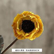 GUANGMING77 Keramik Vase Blume Ist Weiß Kleines Wohnzimmer Einrichtung Heimtextilien Tisch Vase Ornamente, Poppy [Gelb]
