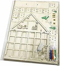 GuanjunLI Adventskalender aus Holz, mit LED-Licht,