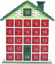 GuanjunLI Weihnachts-Holz-Adventskalender mit