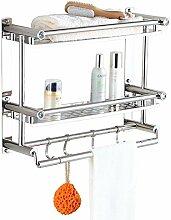 GUANSIJIE Badezimmer Regal Handtuchhalter Freie Bohranlage Edelstahl Badezimmer doppelt Hardware Storage Racks Küche Eckablage Wandbehang 30 /40/ 50 / 60 cm 50cm