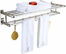 GUANSIJIE Badezimmer Regal Handtuchhalter Punch Edelstahl Badezimmer Hardware-Regal Doppel Storage Rack Küche Eckablage Wandbehang 80cm