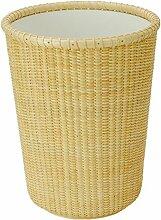 GUANSIJIE Mülleimer Rattan Weave Lagerfässer Bürobedarf Papierkorb keine Abdeckung kreative Mülleimer