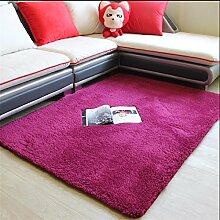 GUANSIJIE Teppich Home Maschine Waschbar Non Woven Fabricated Dicker Lamm Regal Wohnzimmer Schlafzimmer Sofa Couchtisch Nachttisch Quadrat Kissen 1.2*2.0 M Wine Red