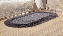 GUANSIJIE Teppich Home Maschine Weben Trockenreinigung Kissen Stretch Kachelofen Wohnzimmer Couchtisch Schlafzimmer Bett Liner Ovaler Teppich 70*140Cm Deep Gray