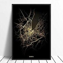 guatan Leinwand Bild,Genf Stadt Licht Karten
