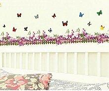 GUDOJK Lila Blume Schmetterling Zaun Vinyl