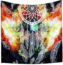GuDoQi Dreamcatcher Feder Tapisserie Wandbehang Wohnheim Dekor Polyester für Schlafzimmer Strand Blatt Tischdecke