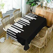 GuDoQi Klaviertasten Tischdecke Tischdecke Rechteck Polyester Stoff Sortierte Größe Für Küche Esszimmer Tischplatte Dekoration