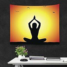 GuDoQi Meditieren Yoga Tapisserie Wandbehang Wohnheim Dekor Polyester Für Schlafzimmer Strand Blatt Tischdecke