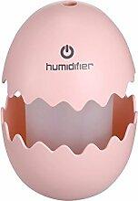 GuDoQi® Mini Eierbefeuchter USB Ei Ultraschall Luftbefeuchter Tragbare LED Licht Luftbefeuchter Für Zu Hause Büro Auto Rosa