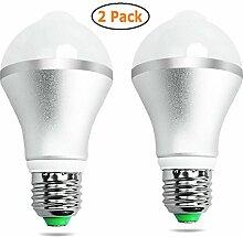 GuDoQi® Motion Sensor Glühbirne Led Birnen Auto On/Off Nacht Lichter Für Treppen Garage Korridor Gehweg Hof Flur Terrasse Carport 5W 2 Packungen E27