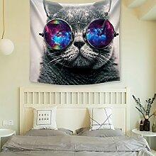 GuDoQi schwarze Katze Tapisserie Wandbehang Dorm